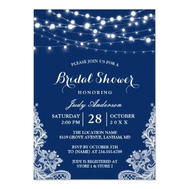 Trendy String Lights Lace Navy Blue Bridal Shower Invitations