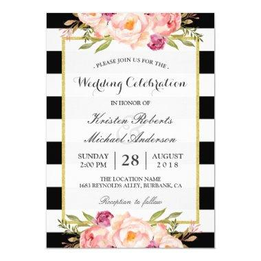 Trendy Stripes Floral Gold Wedding Celebration