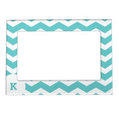 Trendy ZigZag Pattern with Monogram Magnetic Photo Frame