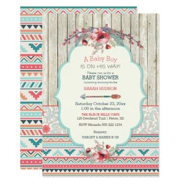 Tribal Boho Rustic Chic Wood Flowers Arrow Invitations