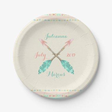 Tribal Watercolor Arrow Feathers Any Occasion Paper Plate