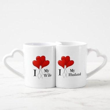 Trio of Red Heart Balloons Husband and Wife Coffee Mug Set