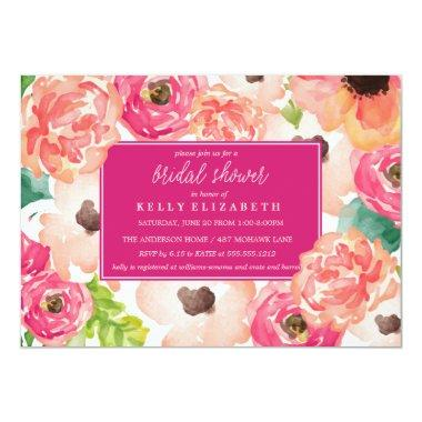 TROPIC WATERCOLOR FLORAL bridal shower Invitations