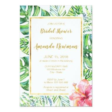 Tropical Beach Bridal Shower Invitations
