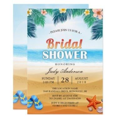 Tropical Beach Hawaiian Summer Bridal Shower Invitations