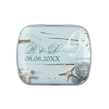 Tropical Blue woodgrain Seashells Beach Wedding Candy Tin