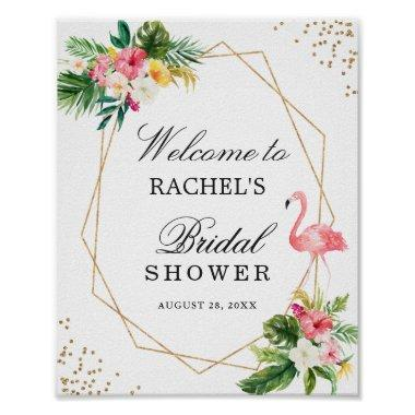 Tropical Floral Flamingo Gold Bridal Shower Sign