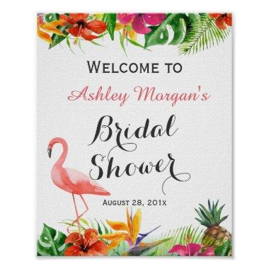 Tropical Floral Flamingo Luau Bridal Shower Sign Poster