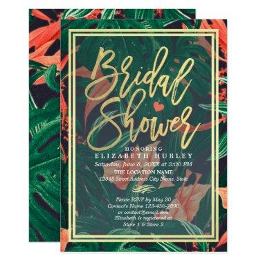 Tropical Floral Gold Frame Hawaiian Bridal Shower Invitations