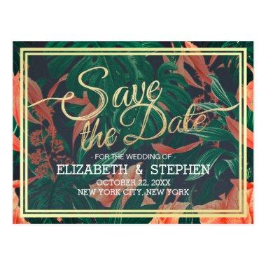 Tropical Floral & Gold Frame Wedding Save The Date Post