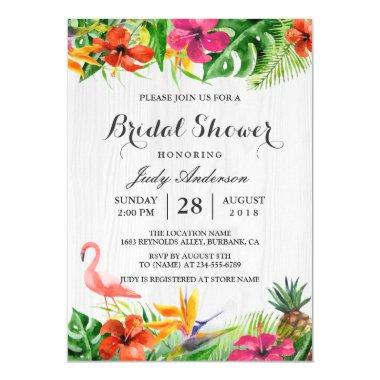 Tropical Floral Rustic Wood Flamingo Bridal Shower Invitations