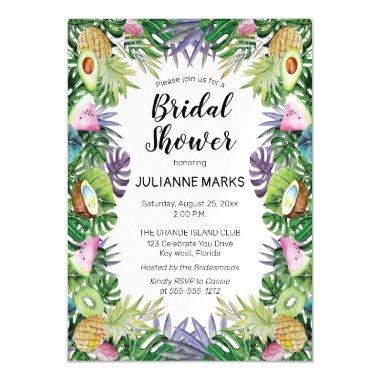 Tropical Fruit | Greenery Summer Bridal Shower Magnetic Invitations