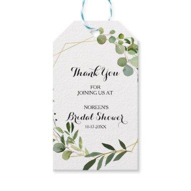 Tropical Green Leaves Bridal Shower Gift Tags