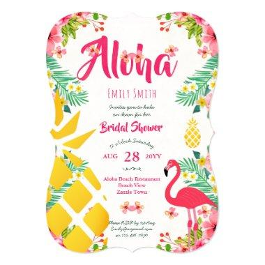 Tropical Hawaiian  Invites Pink Gold