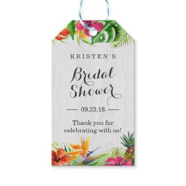 Tropical Hibiscus Floral  Thank You Gift Tags