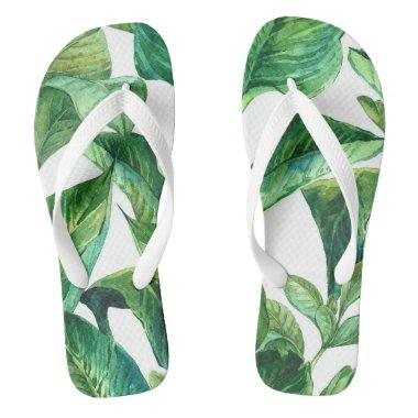 tropical jungle palm leaves flip flops