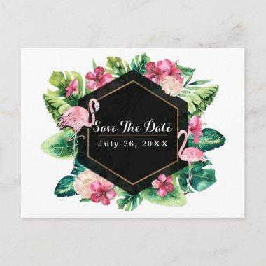 Tropical Leaves Hibiscus Flamingos Save the Date Announcement Post