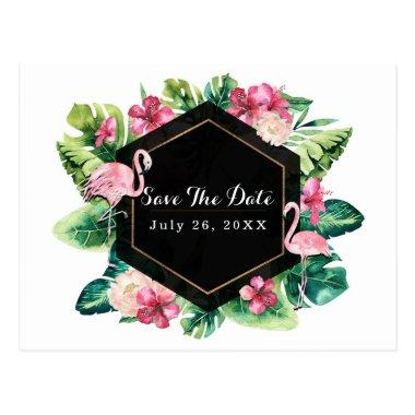 Tropical Leaves Hibiscus Flamingos Save the Date Post