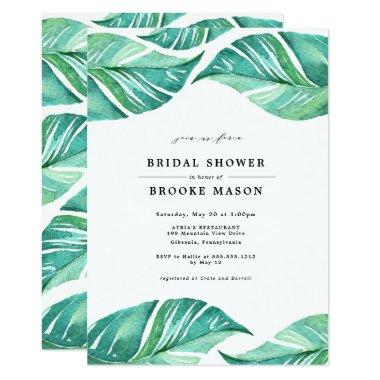 Tropical Leaves Summer Bridal Shower Invitations