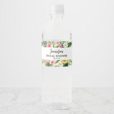 Tropical Leaves Summer Luau Bridal Shower Water Bottle Label