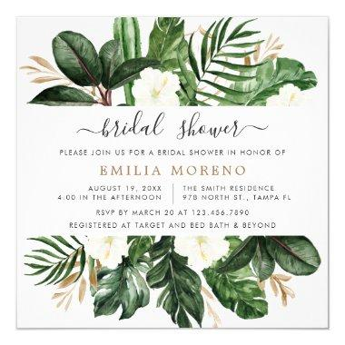 Tropical Modern Palm Cactus White Floral Bridal Invitations