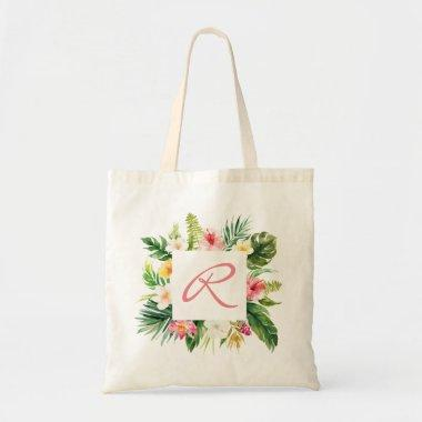 Tropical palm and floral Personalized Tote Bag
