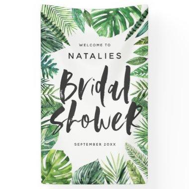 Tropical palm leaf & script bridal shower banner