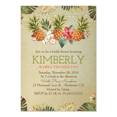 tropical pineapple beach lights bridal shower Invitations