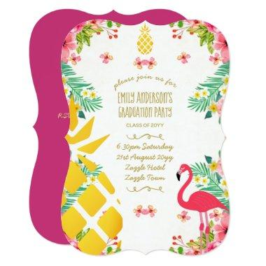 Tropical Pineapple GRADUATION Pink Flamingo