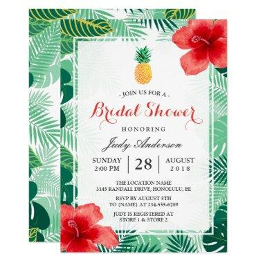 Tropical Pineapple Hawaiian Hibiscus Bridal Shower Invitations