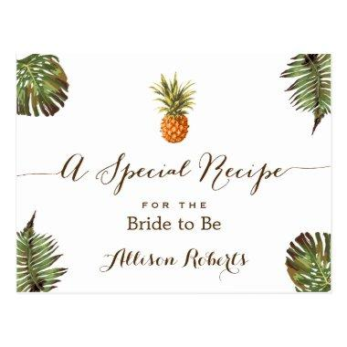 Tropical Pineapple Leaves Bridal Shower Recipe PostInvitations