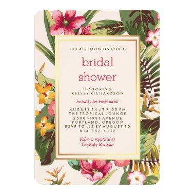 Tropical Pink Gold and Green Bridal Shower Invitations