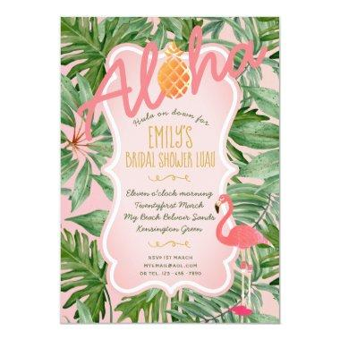 Tropical Pink Gold  Invite FLAMINGO