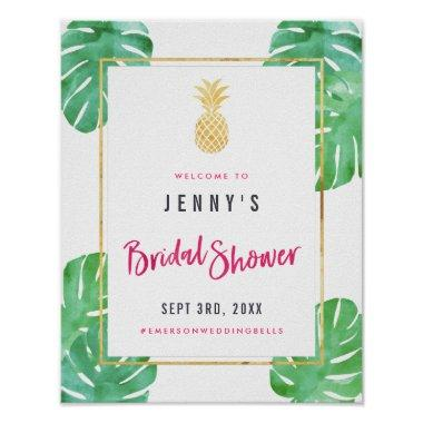 Tropical Pink & Gold Pineapple  Poster