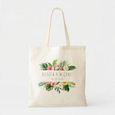 Tropical Plam Floral Bridesmaid Personalized Tote Bag