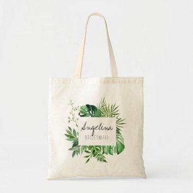 Tropical Plam Leaf Personalized Bridesmaid Tote Bag