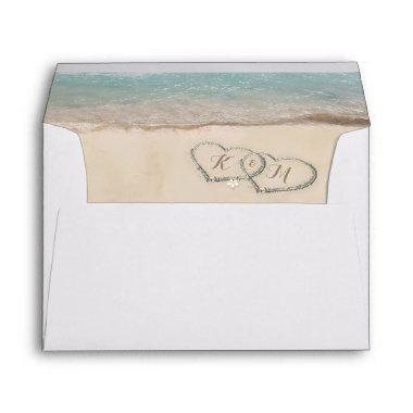Tropical Vintage Beach Heart Shore Envelope