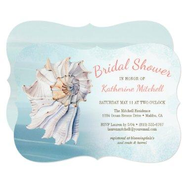 Tropical Watercolor Beach Seashell Bridal Shower Invitations