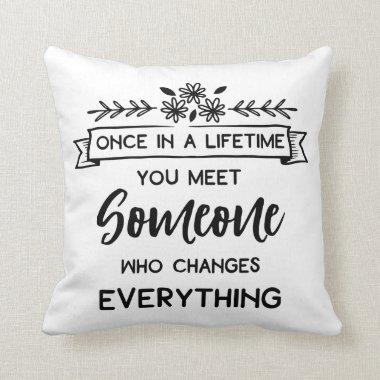 True Love Quote Wedding Engagement Bride Black Throw Pillow