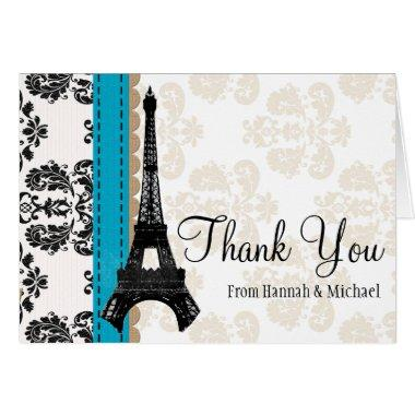 TURQUOISE AND BLACK DAMASK EIFFEL TOWER THANK YOU