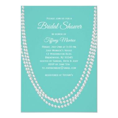 Turquoise and Pearls Bridal Shower Invite white