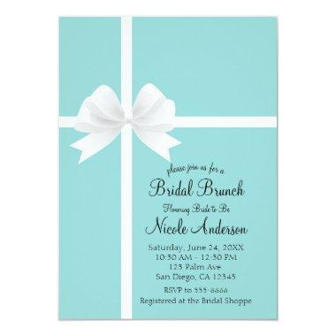 Turquoise Blue Big White Bow Bridal Shower Invitations