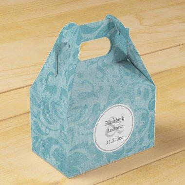 turquoise blue damask wedding table favor box