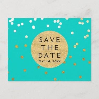 Turquoise Blue & Gold Shiny Confetti Save The Date Announcement PostInvitations