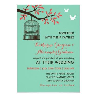 Turquoise Blue Rustic Bird Cage Wedding Invitations