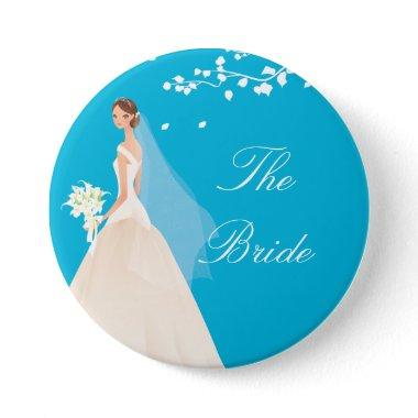 Turquoise Bride Bridal Party Button