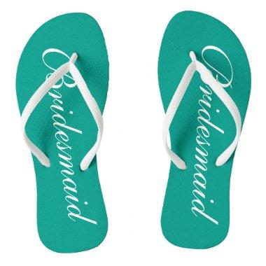 Turquoise bridesmaid flip flops for beach wedding