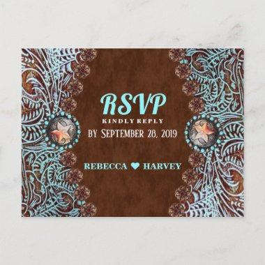 turquoise brown country western wedding RSVP Invitation PostInvitations