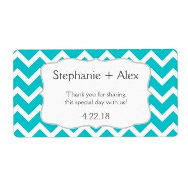 Turquoise Chevron Water Bottle - customize it! Label