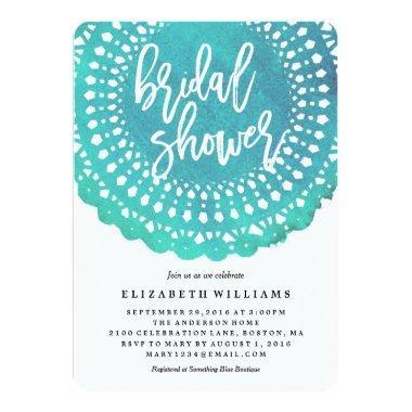 Turquoise Doily Bridal Shower Invitations